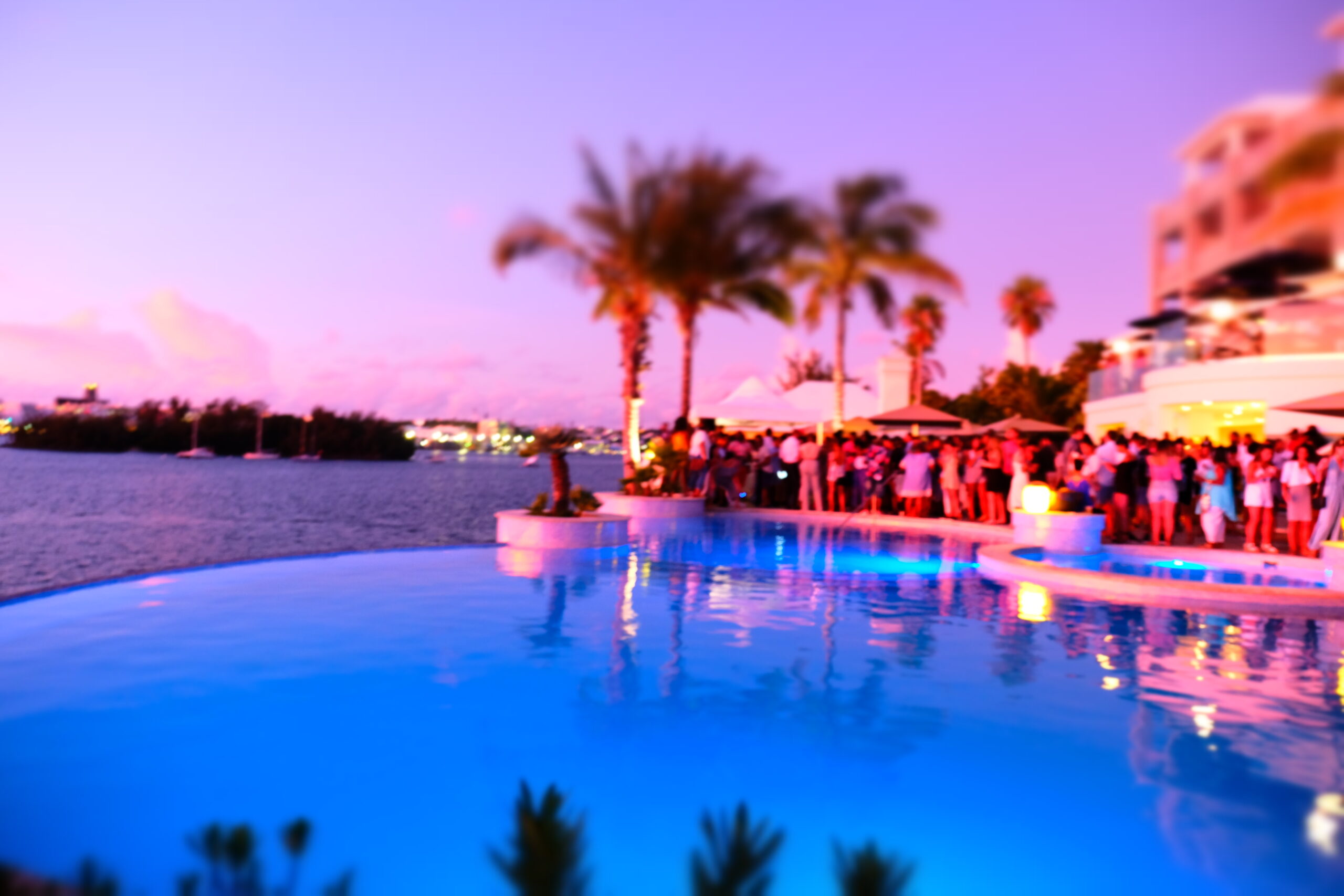 newstead resort in bermuda picture of the sunset. Palm trees and pool