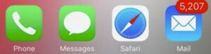 photo of iphone icons with a high number of unread emails