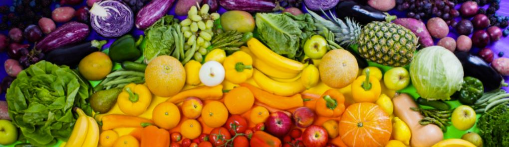 pretty mixed vegetables and fruits, all colors of the rainbow
